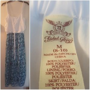 Faded Glory Size M Blue and White Dress